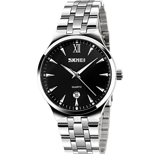 Mens-Unique-Analog-Quartz-Waterproof-Business-Casual-Stainless-Steel-Band-Dress-Wrist-Roman-Numeral-Watch-Classic-Calendar-Date-Window-Black