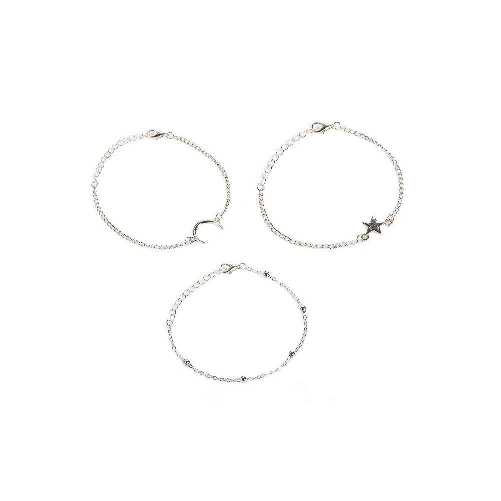 Xiton 3 pi/èces Femmes Bracelet Bracelet Simple Fashion Style Little Star Lune Ronde Perle Bracelet pour Les Cadeaux du Festival