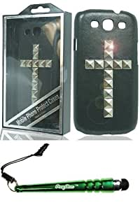 Deluxe Stud Case for Samsung Galaxy S 3 the Cross Silver and FoxyCase stylus cas couverture