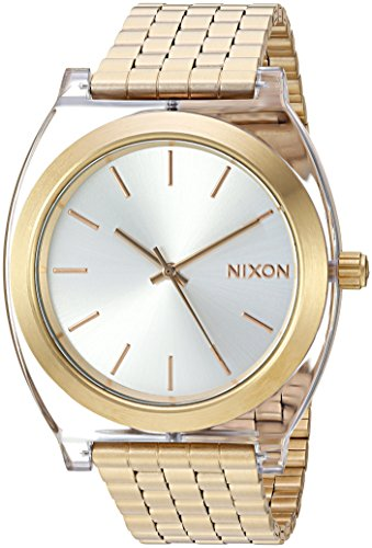 Nixon Women's Time Teller Acetate Japanese-Quartz Watch with Stainless-Steel Strap, Gold, 19.5 (Model: A3272623-00