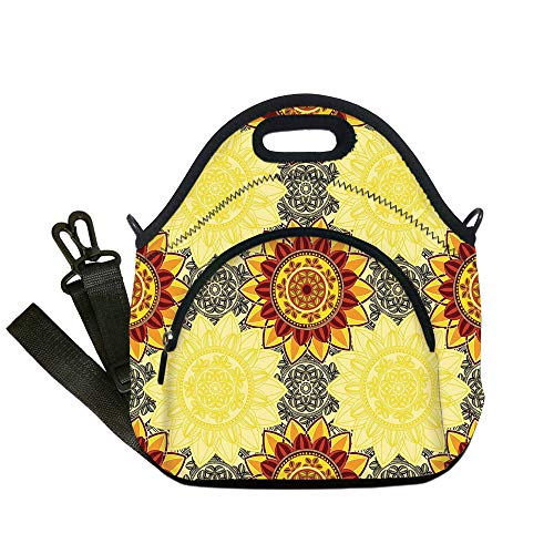 Insulated Lunch Bag,Neoprene Lunch Tote Bags,Yellow Mandala,Bohemian Floral Decorative Motifs Framework Colorful Hippie Traditional Decorative,Multicolor,for Adults and children