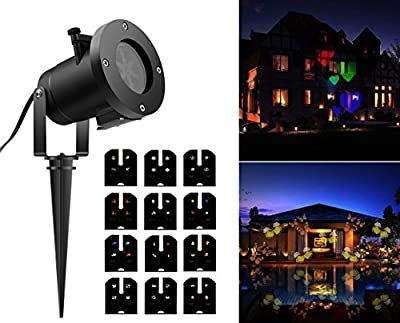 Tradinno Christmas LED Projector Light Waterproof 12 Patterns Slides Holiday Party Lights for Birthday Halloween Garden Decoration