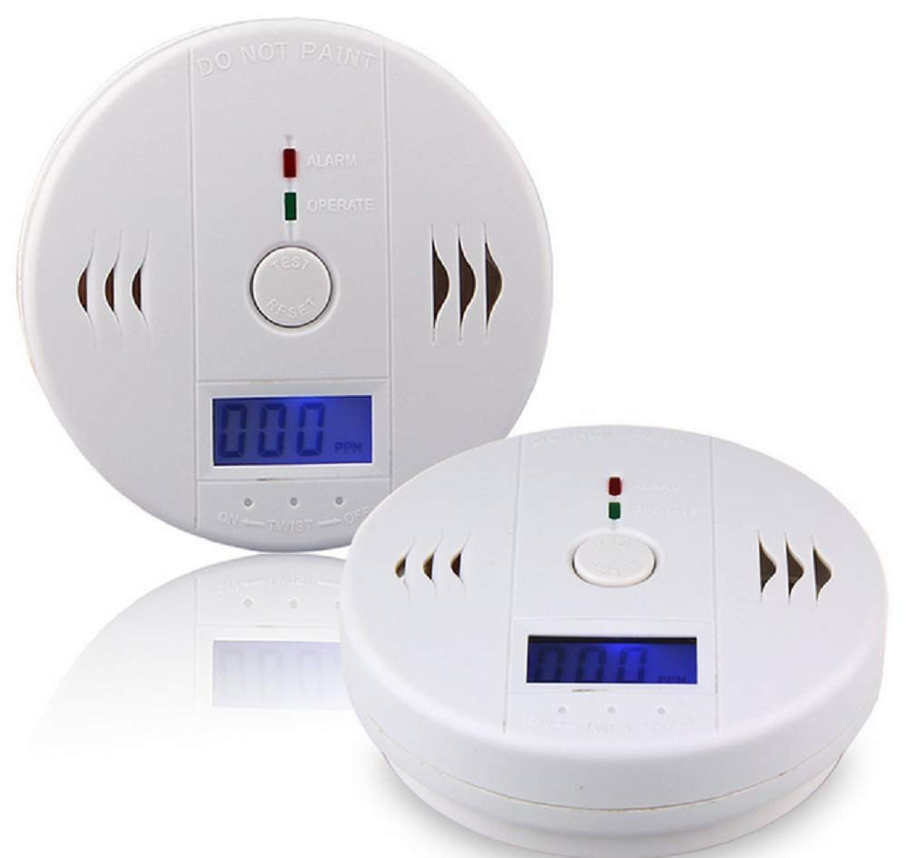 2 Pack Carbon Monoxide Detector Alarm CO Gas Sensor Detector with Digital Display Alarm Clock Warning for Home (3 AA Battery not Included)