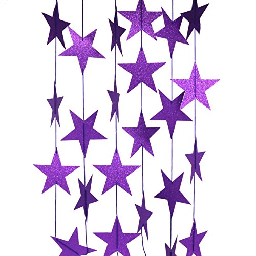 (CVHOMEDECO. Glittered Paper Star String Star Garland Hanging Décor for Wedding Birthday Party Festival Home Background Decorative, 8.2 feet, Pack of 2 PCS (Purple))
