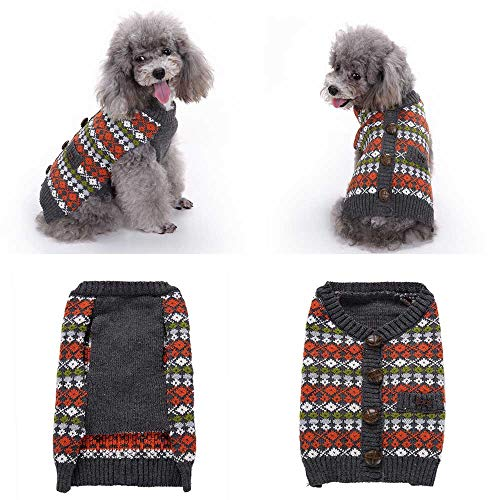 Duseedik Pet Sweater, England Style Pet Dog Cute Clothes Puppy Winter with Button Apparel