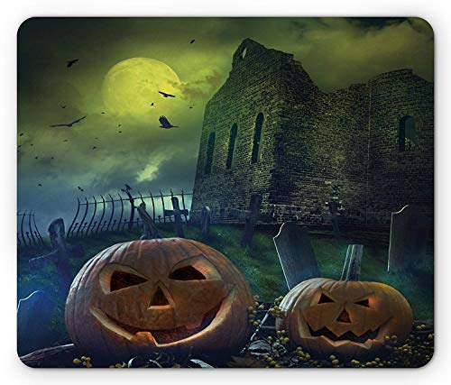 Halloween Mouse Pad, Pumpkin in Spooky Grave Old Stone Haunted House Gloomy Dark Night Winter Holiday, Standard Size Rectangle Non-Slip Rubber Mousepad, Grey Yellow -