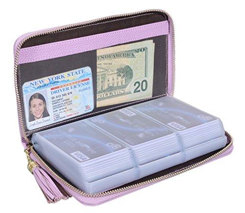 Easyoulife Credit Card Holder Wallet Womens Zipper Leather Case Purse RFID Blocking (Light Purple)