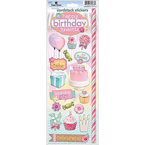 Paper House Productions STCX-0179E Cardstock Stickers, Birthday Girl (6-Pack)