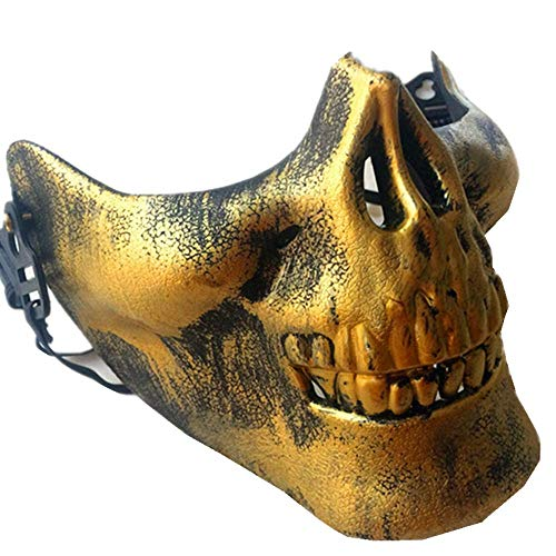 Bear boys Halloween Party Masquerade Headgear Half Face Horror Devil Mask Halloween Decoration (Gold)