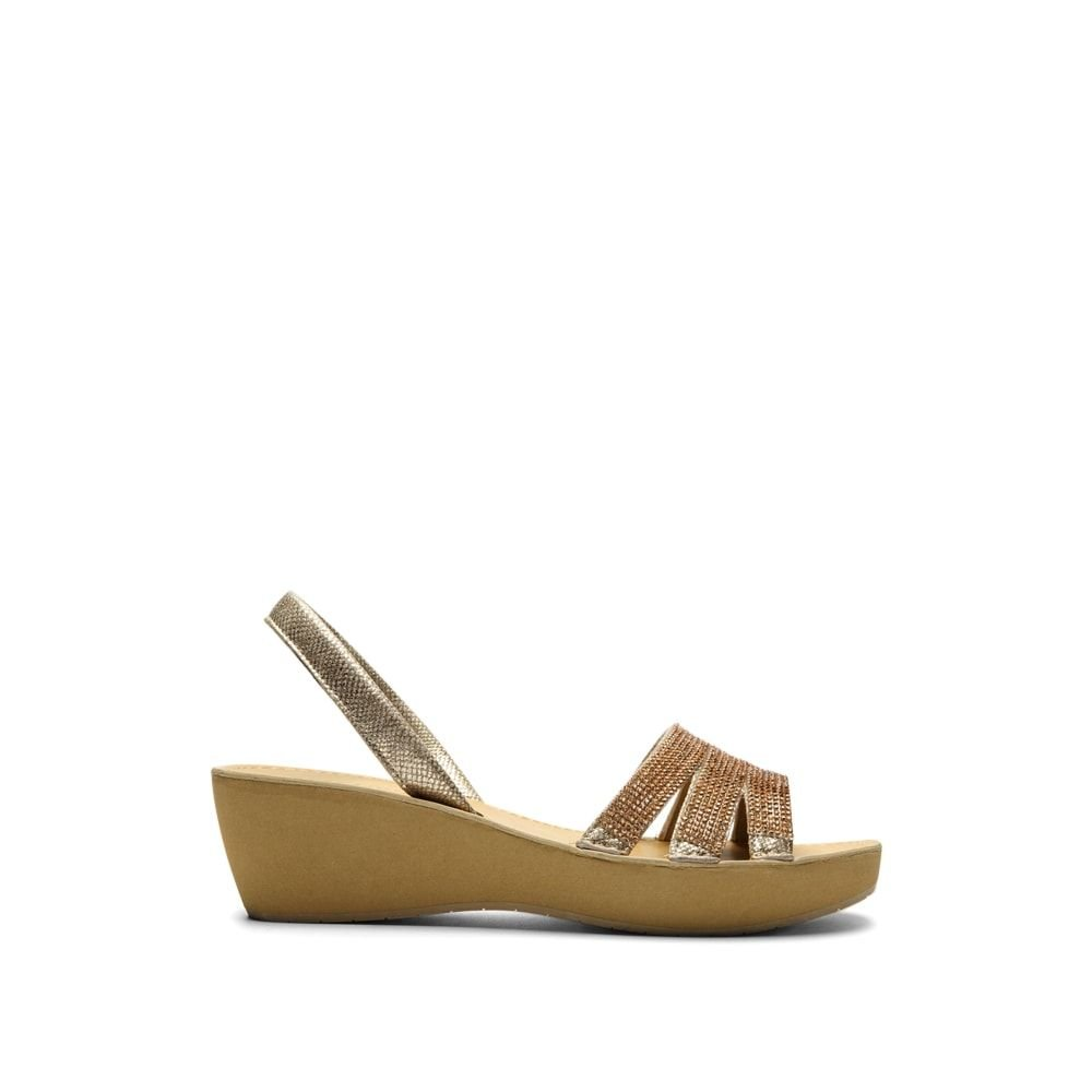 Kenneth Cole REACTION Women's Fine Jewel Platform Sandal, Soft Gold, 7.5 M US