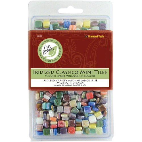 Diamond Tech 8-Ounce Jennifer's Mosaics Assorted Classico Shimmers Iridized Glass Tile, Mini ()