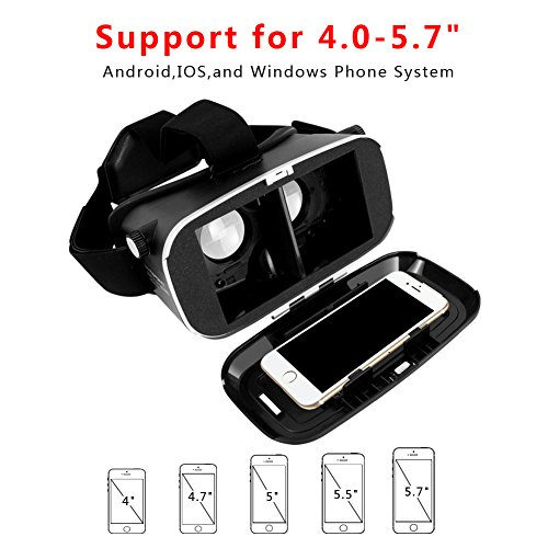 VR Headset TEPOINN Virtual Reality Headset for iPhoneX/ 8/ 8plus/7/7plus/6/6plus/6s/5, Samsung, LG & All Android Smartphone With Magnetic Front Cover, Adjust Strap by tepoinn (Image #4)
