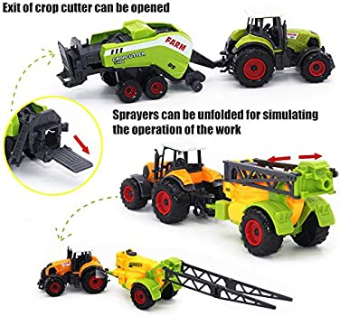 MinYn Farm Tractors Truck and Trailers Set Toy Mini Die-Cast Metal Alloy Farmer Car Vehicle Gifts for Kids Boys Girls Children 6 Pieces