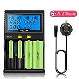 Miboxer Universal 18650 Charger C4 for Rechargeable Batteries 4 Bay Charger for Ni-MH Ni-Cd AA AAA Li-ion LiFePO4 IMR ICR 10340 26650 with UK plug