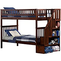 Woodland Staircase Bunk Bed with Flat Panel Bed Drawers, Twin over Twin, Walnut