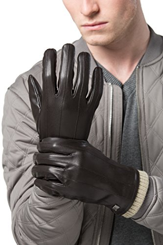 Striped Glove Leather (Gallery Seven Mens Faux Leather Warm Winter Gloves - Touch Screen Texting Glove - Gift Wrapped - Deep chocolate Lofty Wide Striped - X-Large)