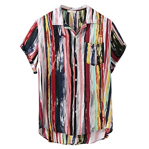 Men's Casual Shirts Summer Short Sleeve Colorful Stripes Printed T-Shirts Tops with Pocket (Multicolor, XL)