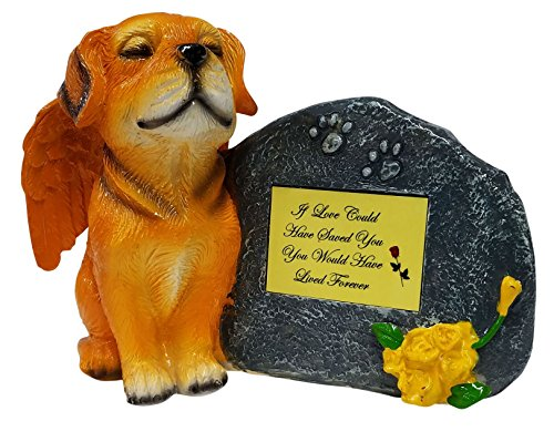 - If Love Could Gold Angel Dog Memorial Statue with Tribute Plate and Keepsake Box for Ashes by Imprints Plus (2017 gld-yello)