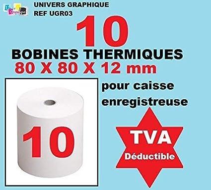 10 bobinas del cajón de 80 x 60 x 12 mm de papel térmico para ...