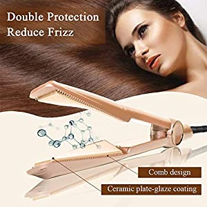 H&L 2 In 1 Pro Hair Straightener Curler Styler Wand With Heat Proof Glove, Hair Curling Iron Rollers For Long Short Wet Dry Hair, LED 160℃ 180℃ 200℃ 230℃ Auto Shut Off With Twist Ceramic Plate, Golden