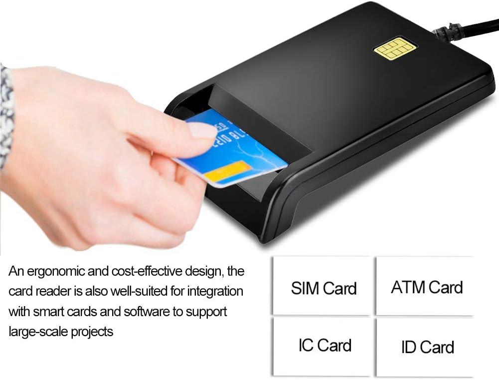 Lettore di Smart Card Lettore di Schede con Riconoscimento USB 2.0 ad Alta Velocit/à per Scheda ID//Scheda di Banco IC//Scheda SIM Adattatore per Scheda di Identificazione