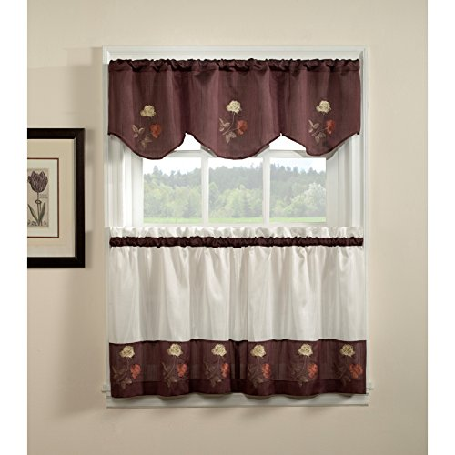 CHF Rose 3-piece Curtain Tier and Valance Set 24 inch