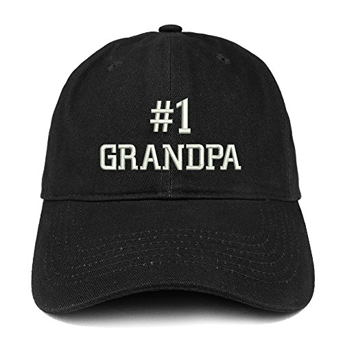 Number 1 Grandpa Embroidered Low Profile Soft Cotton Baseball Cap - Black](Number One Grandpa Hat)