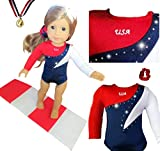 Doll Connections USA Gymnastics Outfit Compatible with American Girl Doll of The Year 2019 Blaire Wilson - Doll Clothes and Accessories 18 inch Doll - USA Olympics Leotard w/Bonus Mat (4 Pieces)