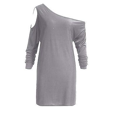 8d15a5b0c6e Usstore Womens Bat Sleeve Loose Dress Casual Slanted Off-Shoulder Irregular  Hem Long Sleeve Mini