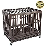 Gelinzon Heavy Duty Dog Cage Crate Strong Metal Kennel for Large Dogs, Easy