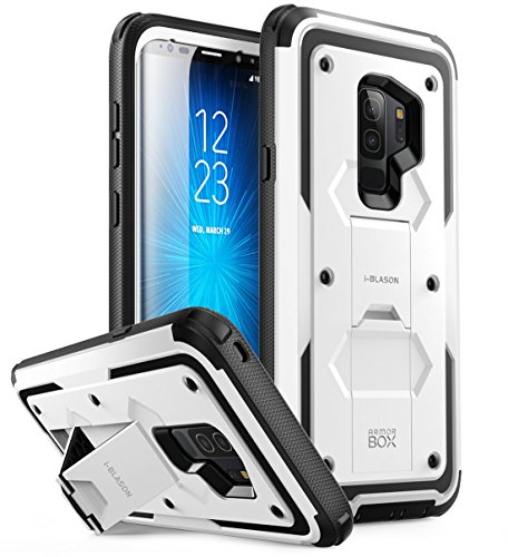 i-Blason Case Designed for Galaxy S9+ Plus (2018 Release), [Armorbox V2.0] [Full body] [Heavy Duty Protection ] [Kickstand] Shock Reduction / Bumper Case without Screen Protector (White)