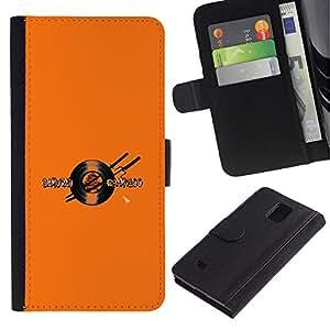 YiPhone /// Tirón de la caja Cartera de cuero con ranuras para tarjetas - Samurai Champloo Vinilo Espada - Samsung Galaxy Note 4 IV