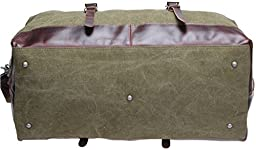 Iblue Overnight Travel Gear Canvas Leather Carry on Garment Totes Luggage Duffel Bags Weekend Bag 21.6 Inch#10190 (Xl, Army Green)