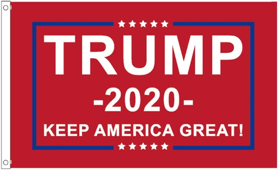 Donald Trump for President 2020 Flag Keep America Great Flag, 3x5 Ft 2020 American Presidential Election Banner with Double Stitched Brass Grommets for Outdoor, Indoor, office Support Decor (Red)