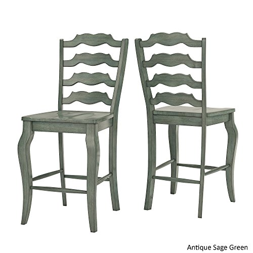 - Inspire Q Eleanor French Ladder Back Wood Counter Chair (Set of 2) by Classic Sage Antique, Wood Finish