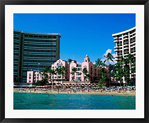 Hotel on The Beach, Royal Hawaiian Hotel, Waikiki, Oahu, Hawaii, USA Framed Art Print Wall Picture, Black Frame, 39 x 32 inches