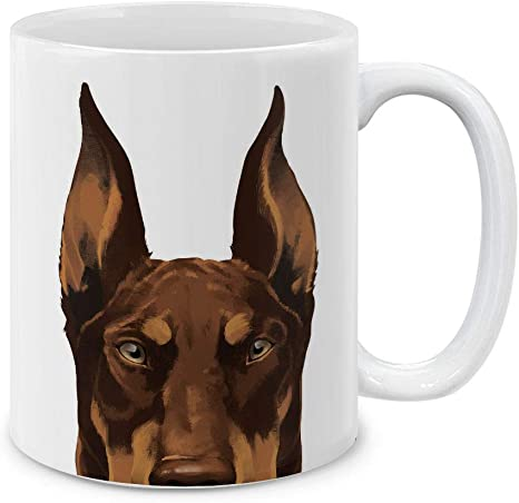 Mugbrew Red Chocolate Doberman Pinscher Dog Ceramic Coffee Mug Tea Cup 11 Oz Kitchen Dining