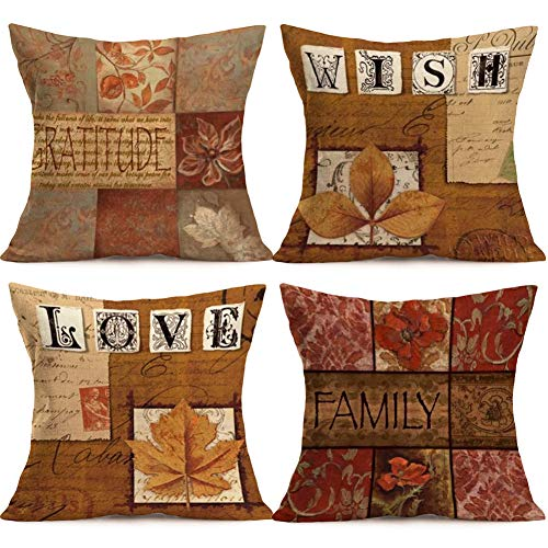 Asamour Vintage Letters Cotton Linen Throw Pillow Covers Autumn Fall Maple Leaves Decorative Cushion Covers Pillowcase for Sofa Couch Set of 4 Love, Family, Wish, Gratitude(Vintage Quotes)