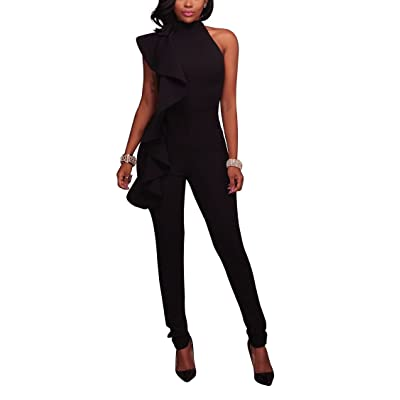 Adogirl Womens Sexy Round Neck Sleeveless Side Ruffles Slim Fit Zipper Night Club Outfit Jumpsuit