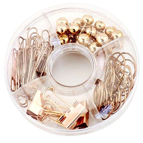TOOGOO 65 pezzi clip di carta decorativa e set, multi-tipo push-pin mappa puntina lunga coda clip di carta clip pin per la scuola, casa e ufficio (oro rosa)