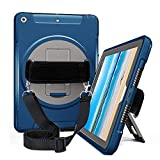 iPad 9.7 Case, Full-Body Rugged Protective Case with Built-in Screen Protector, 3 Layer Design, Kickstand, Hand Strap and Shoulder Strap for Apple iPad 9.7 Inch 2017/2018, iPad 5th/6th Gen, Blue