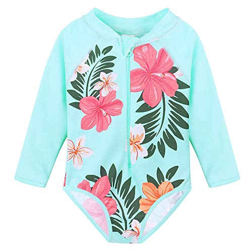 (TFJH E Swimsuits for Girls Sun Protection Long Sleeve Rash Guard Sunsuits,New Cyan 116/122 )