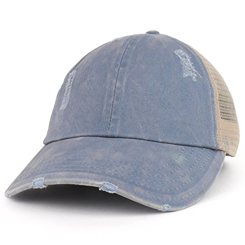 Trendy Apparel Shop Ladies Ponytails Unstructured Distressed Mesh Back Trucker Cap - Blue
