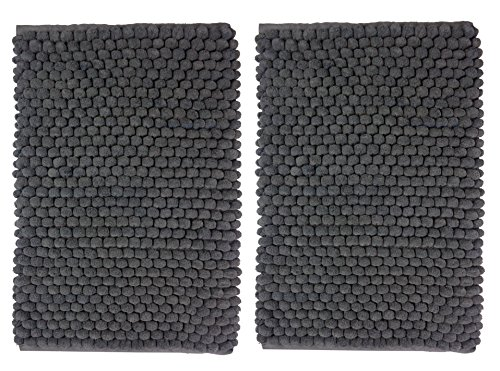 Cotton Craft - 2 Piece Popcorn Loop Bath Mat Rug Set - 17 x 24 Charcoal - with Spray Latex Backing & Absorbent Thick Plush Hand Tufted Heavy Weight Durable Construction - Machine wash