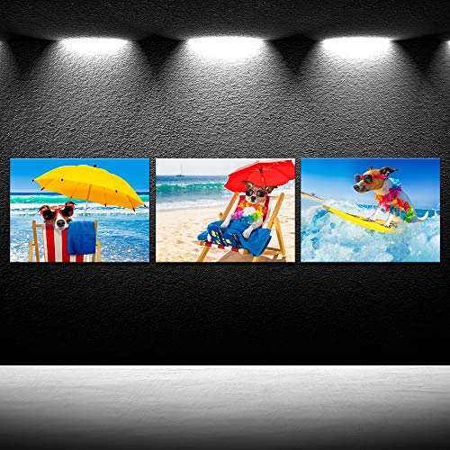 - iKNOW FOTO Canvas Prints Funny Jack Russell Dog with Sunglasses Surfing on a Wave Wall Art Ocean Sea on Summer Vacation Holidays Picture Printed On Canvas Giclee Artwork for Home Decor