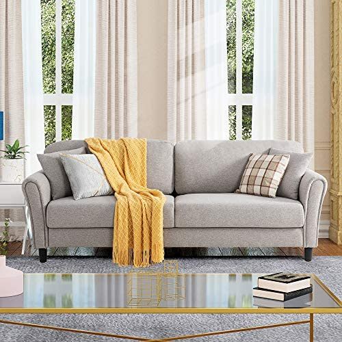 """Shintenchi 87"""" Modern Sofa Loveseat, Oversize Deep Seat Sofa, Loveseat Furniture with Hardwood Frame, Mid-Century Upholstered Couch for Living room, Bedroom, Apartment, Rounded Arms, Tool Free, Gray"""