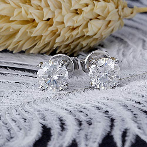 DovEggs Solid 14K White Gold 1ct 5mm GH Color Clear Heart Arrows Cut Created Moissanite Stud Earring Push Back for Women