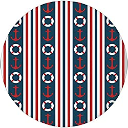 Round Rug Mat Carpet,Nautical,Vertical Borders Stripes Maritime Theme Steering Wheel and Anchor Pattern Decorative,Indigo Red White,Flannel Microfiber Non-slip Soft Absorbent,for Kitchen Floor Bathroo