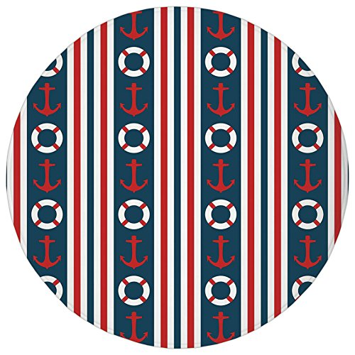 (Round Rug Mat Carpet,Nautical,Vertical Borders Stripes Maritime Theme Steering Wheel and Anchor Pattern Decorative,Indigo Red White,Flannel Microfiber Non-slip Soft Absorbent,for Kitchen Floor Bathroo)