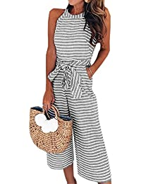 1474e615190 Women Sleeveless Striped Jumpsuits Waist Belted Wide Leg Pants Romper with  Pockets
